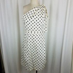 Carolina Herrera Polka Dot Cold One Shoulder Dress